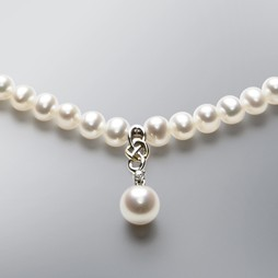 2 Tone Pearl Necklace with White Freshwater Pearls