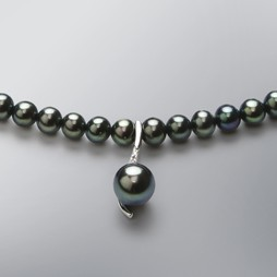 Pearl Necklace with Treated Black Freshwater 8.5-5.0 mm Pearls