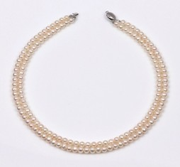 White Freshwater Pearl 2 Strand Necklace, 6.0 mm, 18KW
