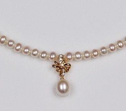 White Freshwater Pearl Necklace 8.0mm, 18KY