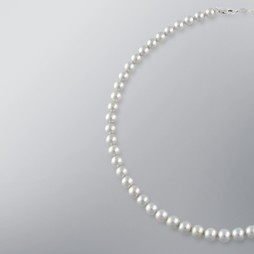 Pearl Necklace with Treated Grey Japanese Akoya 7.5-7.0 mm Pearls