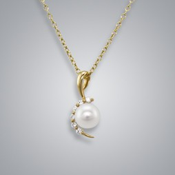 Moon Diamond Pearl Pendant with Freshwater Pearls