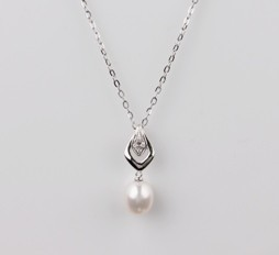 White Freshwater Pearl Pendant with 8.0mm, 18KW