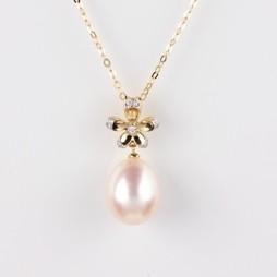 Flower Pendant, White Freshwater Pearl, 10.5mm, 18KY