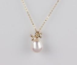Flower Pendant, Freshwater Pearl, White, 11.5mm, 18KY