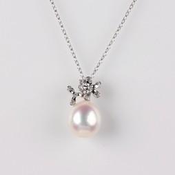 Flower Pendant, Freshwater Pearl, White, 11.5mm, 18KW