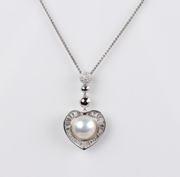 Heart Mabe Pearl Pendant, White,12.0mm, 18KW
