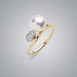 2 Tone Pearl Ring with White Freshwater Pearl