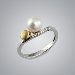 Pearl Ring with White Freshwater 7.0-6.5 mm Pearl