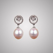 Halo Earrings, White Freshwater Pearls & Diamonds 8.0mm, 18KW