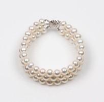 3 Strand Bracelet, Freshwater Pearl, White, 7.5mm 18KW