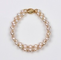 White Freshwater Pearls, 2 strands Bracelet with Gold Beads, 6.5mm, 18KY