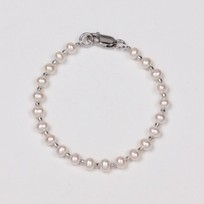 Kids White Freshwater Pearl Bracelet with Beads, 4.0mm, 18KW