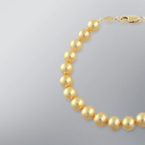 Pearl Bracelet with Treated Golden Japanese Akoya 7.5-7.0 mm Pearls