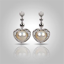 Heart Mabe Pearl Earrings, White, 11.0mm, 18KW