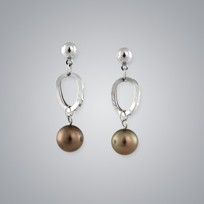 Pearl Earrings with Treated Brown South Sea 11.0-10.0 mm Pearls