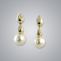 Pearl Earrings with Natural Champagne South Sea 10.0-9.0 mm Pearls