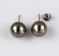 Natural Black South Sea Pearls, Stud Earring, 13.0mm, 18KW