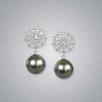 Pearl Earrings with Natural Black South Sea 13.0-12.0 mm Pearls