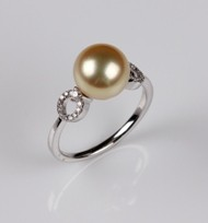 Japanese Akoya Pearl Ring, Treated Golden Color, 9.0 mm, 18KW