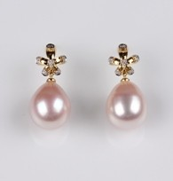 Flower Earrings, Freshwater Pearls, Natural Multi Color, 10.5mm, 18KY