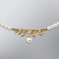 Pearl Necklace with White Freshwater 8.0-5.5 mm Pearls