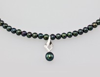 Freshwater Pearl Treated Black Necklace 8.0mm, 18KW