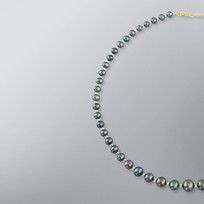 Pearl Necklace with Treated Black Freshwater 9.5-5.0mm Pearls