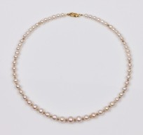 White Freshwater Pearl Beaded Necklace 8.0mm 18KY