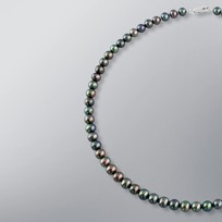 Pearl Necklace with Treated Black Freshwater 7.0-6.5 mm Pearls