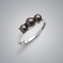 3 Pearl Ring Treated Black Freshwater Pearls