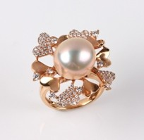 Natural Multi Color Freshwater Pearl Ring & Diamonds, 13mm, 18KR