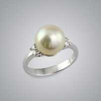 Pearl Ring with Champagne South Sea 10.0-9.0 mm Pearl