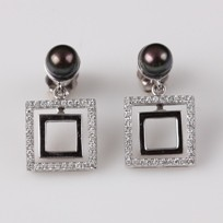 Freshwater Pearl Earrings, Treated Black, 5.5mm, Diamonds, 18KW